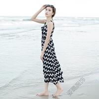 性感吊带露背中长款连衣裙无袖背心裙海边度假条纹沙滩裙长裙女夏 黑白波浪条纹