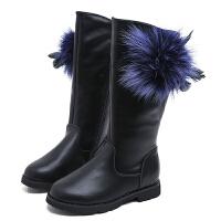 2017新款女童靴子秋冬长靴儿童韩版高筒靴公主加绒保暖马丁靴