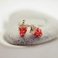 可爱草莓无耳洞软垫耳夹耳钉耳环耳针女耳饰