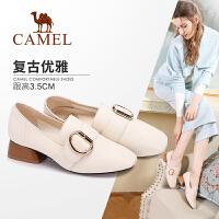 camel 骆驼女鞋 秋季新品时尚个性方头女鞋 优雅舒适粗跟单鞋