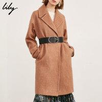 【25折到手价:419元】 Lily春秋新款女装腰带中长款羊毛外套毛呢大衣118419F1904