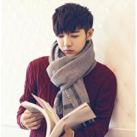 韩版围巾男冬季年轻人纯色男士围巾百搭长款简约英伦围脖男礼盒潮