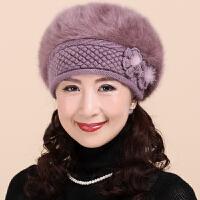 帽子女冬天保暖中老年妈妈针织毛线帽女士冬季防寒奶奶贝雷帽