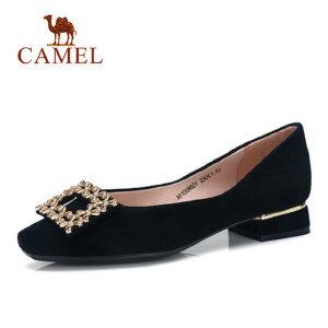 Camel 猪皮内里羊�S皮女鞋骆驼品牌2018春款低跟绒面单鞋方扣金属鞋子女