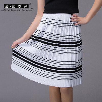 夏装新女小清新百褶裙中长款a字裙弹力松紧腰及膝裙黑色薄款短裙