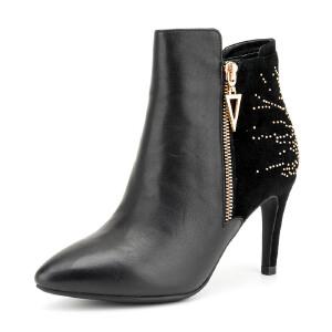 【3折到手价149.7元】Fondberyl/菲伯丽尔 冬款牛皮铆钉高细跟尖头短靴女鞋FB54111617