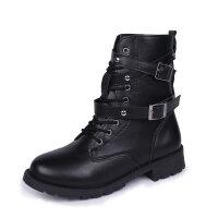 铆钉马丁靴女2019新款韩版百搭英伦风中筒靴情侣款粗跟学生靴子潮 黑色