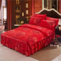 夹棉床裙床罩四件套韩版棉纯棉公主风加厚磨毛1.5米1.8m2.0床
