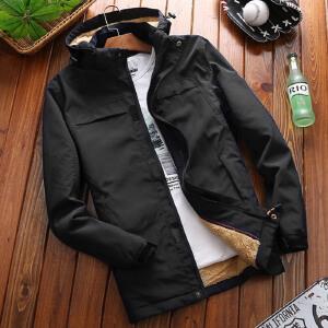 秋冬新款男士韩版上衣加绒宽松冬季运动外衣冬装夹克潮