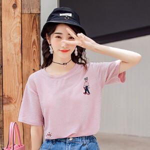 上衣服体恤学生简约宽松女装潮短袖女t恤韩版夏装