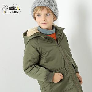 小虎宝儿童装男童棉衣2017冬季帅气新款韩版中长款中大童加厚