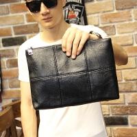 男士手包男包新款文件包韩版男士格子手拿包手包包休闲信封包 黑色