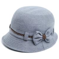 秋冬季中老年女士帽子毛呢帽礼帽女春天盆帽渔夫帽保暖