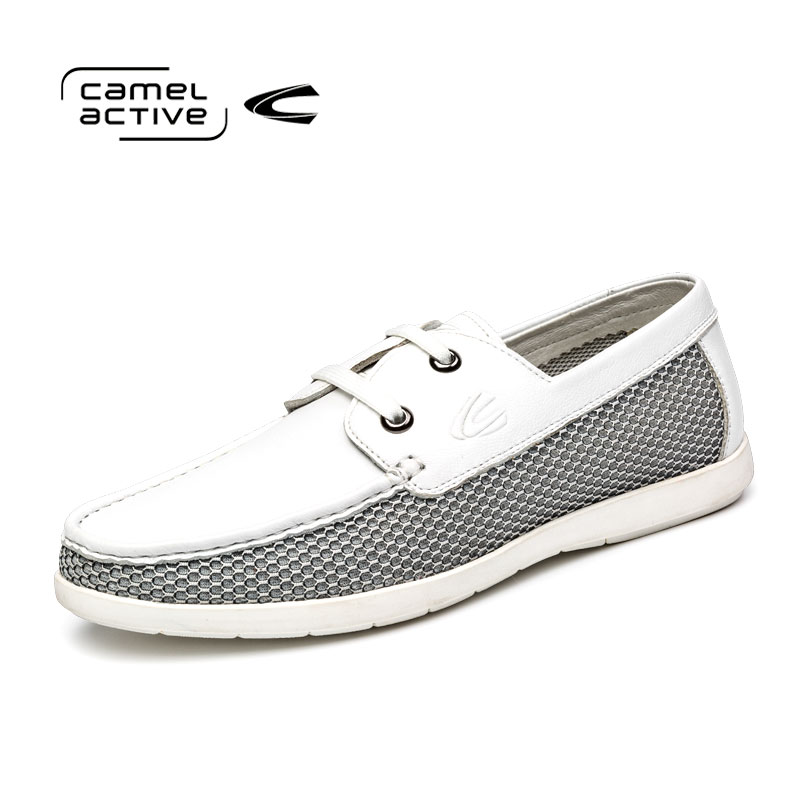 Camel Active/骆驼动感松糕底男士板鞋真皮系带休闲潮流百搭皮鞋