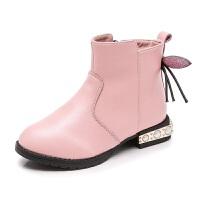 女童靴子秋冬短靴加绒中大童公主可爱侧拉链防滑平底雪地靴