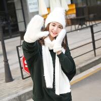 冬季保暖三件套女韩版学生少女软妹可爱围巾帽子手套套装礼盒套装