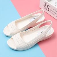 智慧足鱼嘴塑料凉鞋女夏坡跟女白色护士凉鞋厚底透气工作凉鞋 36 建议35脚穿