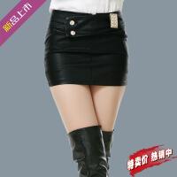 皮短裙女2018新款韩版修身显瘦包臀短款包裙半身裙一步裙秋冬皮裙 黑色