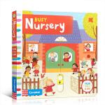 英文进口原版 Busy Nursery 繁忙的托儿所 儿童启蒙纸板操作书 0-3-6岁边学边玩 亲子互动趣味认知童书
