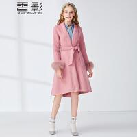 香影狐狸毛双面呢大衣女 2017冬新款时尚气质收腰呢外套修身显瘦