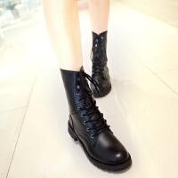 马丁靴女平底学生英伦风春秋女靴子女短靴单靴大码机车军靴骑士靴