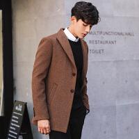 20181028072709444秋冬季男士毛呢外套短款韩版修身呢子无羊绒英伦风衣羊毛妮子大衣