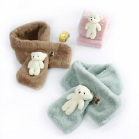 韩版儿童冬季保暖毛绒围巾宝宝萌款立体小熊柔软围巾男童女童围巾
