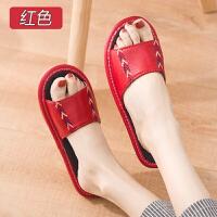 夏季居家室内男女真皮拖鞋防滑防臭木地板软底家居家用凉拖鞋夏天