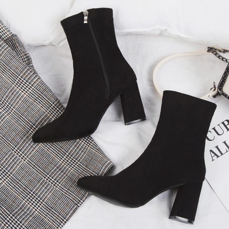 马丁靴女英伦风裸靴女士短靴韩版百搭粗跟女靴春秋单靴尖头高跟鞋 黑色