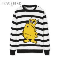 太平鸟男装 新款黑白条纹创意大图案羊毛衫套头圆领青春时尚毛衣