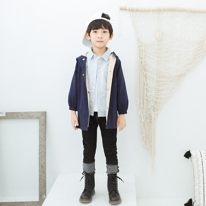 儿童开衫外套秋装男童星球刺绣宽松连帽外套
