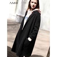 【券后价:700元】Amii极简韩版chic阿尔巴卡羊毛双面呢外套女森系冬新翻领中长大衣