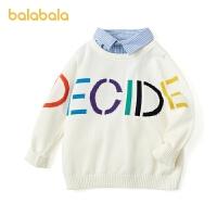 巴拉巴拉童装男童毛衣宝宝春装儿童毛衫2021新款套头衫假两件绅士