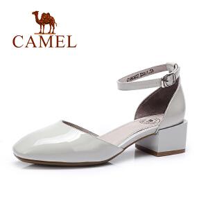 camel骆驼女鞋 春夏新款 韩版时尚 方头粗跟优雅单鞋女