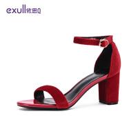 依思q2019夏新款一字扣高跟鞋女粗跟婚鞋韩版红色凉鞋女18164034-
