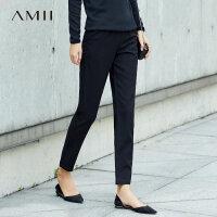 amii率性干练 休闲长裤女 冬装新款简洁百搭拉链拼橡筋直筒裤