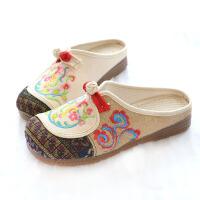 布鞋 女士民族风老北京休闲棉麻大头拖鞋女式新款国风绣花坡跟牛筋底凉拖