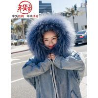 2018冬季韩版女装宽松bf中长款加厚大毛领连帽牛仔棉衣外套潮 牛仔