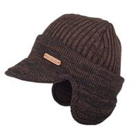 女秋冬季毛线帽针织帽厚翻边保暖帽鸭舌帽子护耳套头