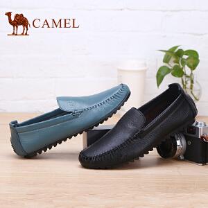 骆驼牌 男鞋 新款休闲男皮鞋驾车鞋轻便套脚乐福鞋