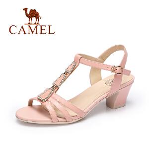 Camel/骆驼女鞋 春夏新品优雅时尚皮带扣女鞋水钻凉鞋