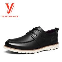意尔康男鞋圆头真皮青年男士时尚休闲鞋平底皮鞋商务正装皮鞋