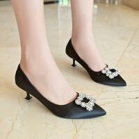 红色高跟鞋女婚鞋水钻公主性感情趣sm5厘米猫跟尖头少女宴会韩版 黑色 标准码