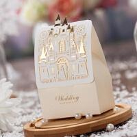 喜包 创意结婚喜糖礼盒欧式西式婚礼糖盒结婚用的装糖喜包 香槟色 小号
