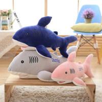 毛绒玩具鲨鱼公仔白鲨布娃娃长条海豚抱枕创意生日礼物女儿童玩偶