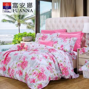 [当当自营]富安娜家纺全棉四件套 床上用品四件套纯棉 时光正好1.8米(6英尺) 粉色