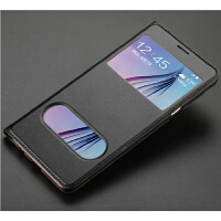 三星C7手机壳C7000保护套SM-C7000皮套翻盖男女款防摔个性创意潮 黑色 双开窗+全屏钢化膜