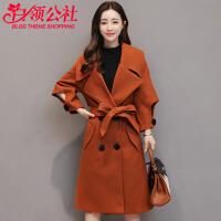 毛呢外套 女士秋冬季新款翻领时尚泡泡袖呢子大衣女式韩版中长款风衣学生女装