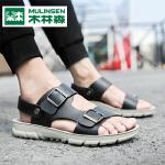 木林森男鞋夏季时尚休闲百搭超纤清凉舒适凉鞋男沙滩厚底休闲凉鞋