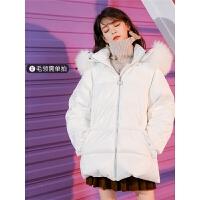 七格格羽绒服女中长款修身冬2018新款时尚韩版加厚白鸭绒学生外套